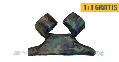 04 HappySwimmer - Zwembandjes/zwemvest voor peuters en kleuters met Army print