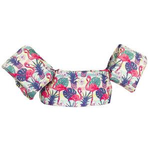 06 HappySwimmer - Zwembandjes/zwemvest voor peuters en kleuters met Flamingo print